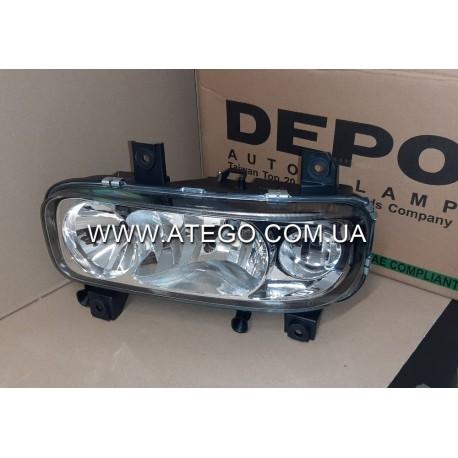 Фара левая Mercedes Atego II (с гладким стеклом, ручным управлением,). DEPO